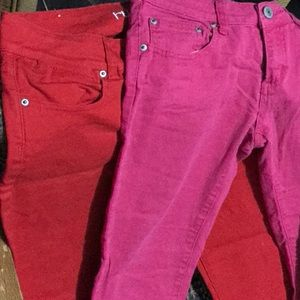2 Red and Pink denim Pants